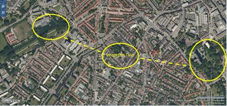 luchtfoto met groengebieden bij de Vergeten Tuin